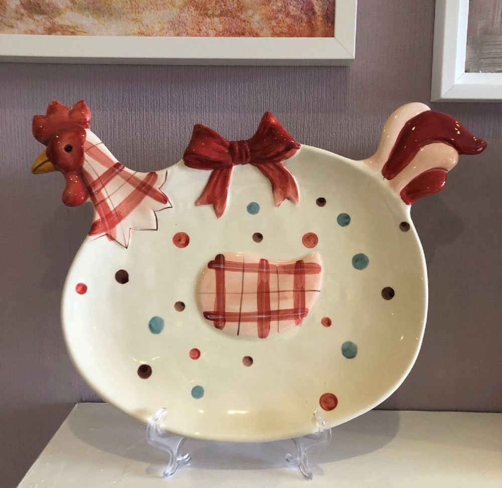 Large Rooster Hen Ceramic Glazed Plate & Display Stand Country Home